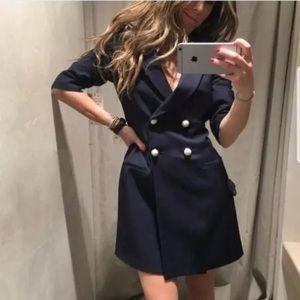 Zara navy blue pearl blazer dress button